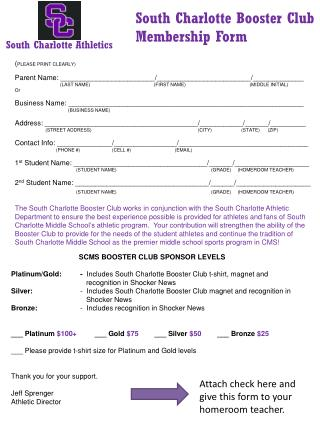 South Charlotte Booster Club Membership Form