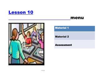 Lesson 10 menu
