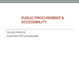 Public procurement &  accessibility
