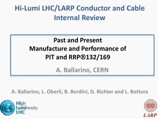 Past and Present  Manufacture and Performance of PIT and RRP  132/169