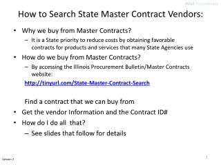 How to Search State Master Contract Vendors:
