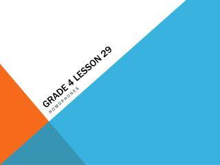 GRADE 4 LESSON 29