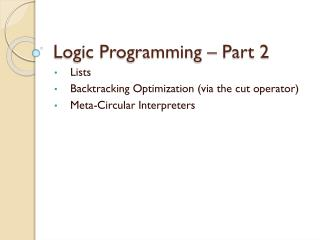 Logic Programming – Part 2