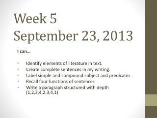 Week 5 September 23, 2013