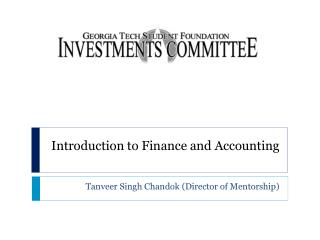 Introduction to Finance and Accounting