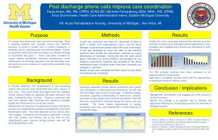 Post discharge phone calls  improve  care  coordination