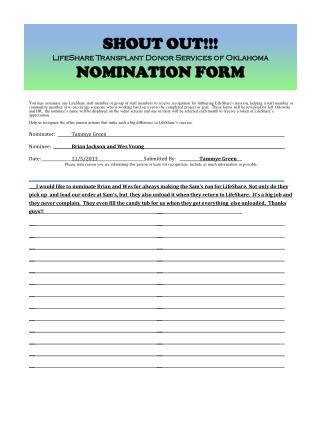 SHOUT OUT!!! LifeShare Transplant Donor Services of Oklahoma NOMINATION  FORM