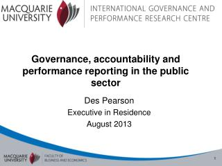 Governance, accountability and performance reporting in the public sector