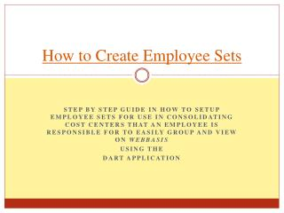How to Create Employee Sets