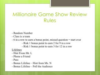 Millionaire Game Show Review Rules