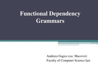 Functional Dependency Grammars