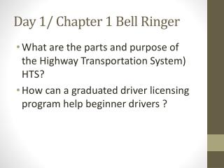 Day 1/ Chapter 1 Bell Ringer