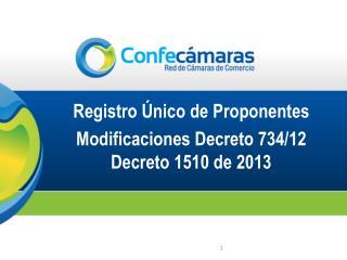 Registro Único de Proponentes Modificaciones Decreto 734/12  Decreto 1510 de 2013