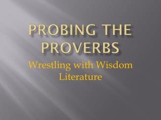 Probing the Proverbs