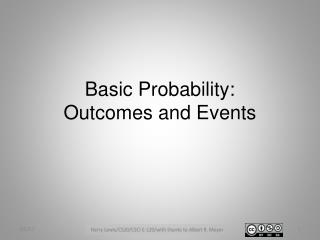 Basic Probability: Outcomes and Events