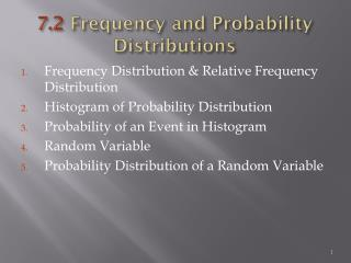 7.2  Frequency and Probability Distributions