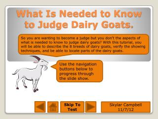 What Is Needed to Know to Judge Dairy Goats.