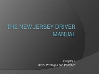 The New Jersey Driver Manual