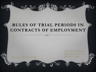 Rules of trial periods in contracts of employment