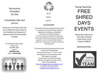 FREE SHRED DAYS EVENTS