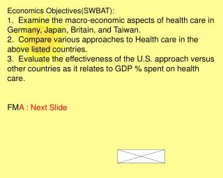 Economics Objectives(SWBAT):