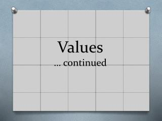 Values …  continued