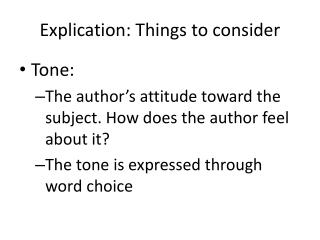 Explication: Things to consider