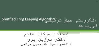 Shuffled Frog Leaping Algorithm