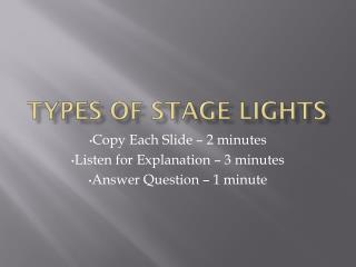 Types of Stage Lights