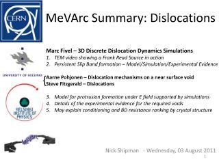 MeVArc  Summary: Dislocations