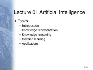 Lecture 01 Artificial Intelligence