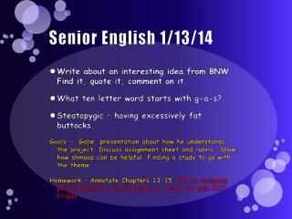 Senior English 1/13/14