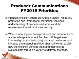 Producer Communications  FY2015  Priorities