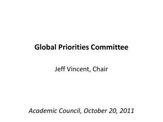 Global Priorities Committee