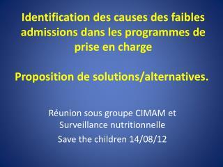 Réunion sous groupe CIMAM et Surveillance nutritionnelle  Save the children 14/08/12