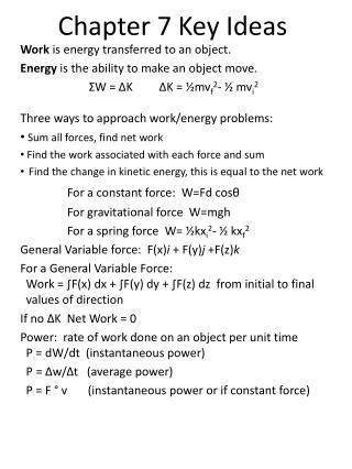 Chapter 7 Key Ideas