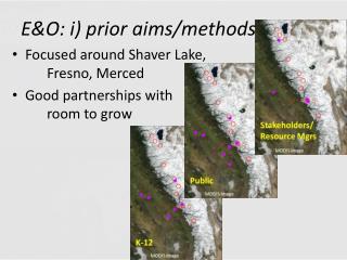 E&O:  i ) prior aims/methods