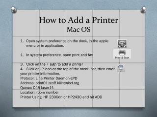 How to Add a Printer Mac OS