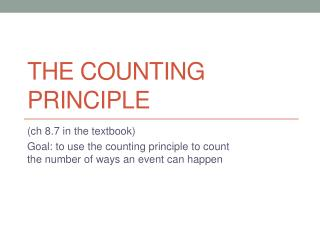 The Counting Principle