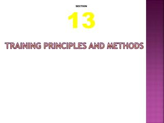 Training Principles and Methods