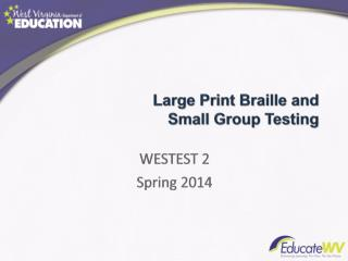Large Print Braille and  Small Group Testing