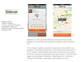 Website:  side.cr Twitter: @sidecar Category :  Travel and Tourism Competitors: Uber, Lyft