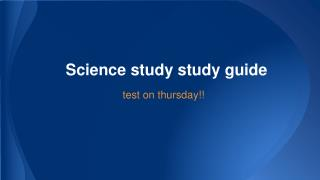 Science study study guide