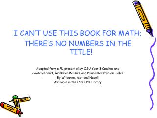 I CAN ' T USE THIS BOOK FOR MATH; THERE ' S NO NUMBERS IN THE TITLE!
