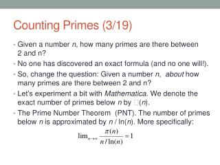 Counting Primes (3/19)