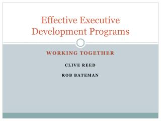 Effective Executive Development Programs