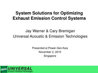 System Solutions for Optimizing Exhaust Emission Control Systems