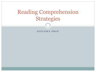 Reading  C omprehension Strategies