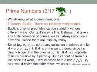 Prime Numbers (3/17           )