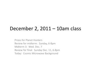 December 2, 2011 – 10am class